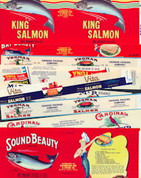 #ZLCA264 - Groups of 50 Different Salmon, Tuna, Seafood Labels