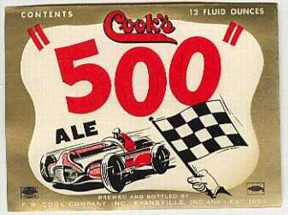 #ZLBE009 - Cook's Indy 500 Beer Label