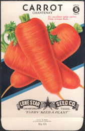 #CE054 - Brightly Colored Chantenay Carrot Lone Star 5¢ Seed Pack - As Low As 50¢ each
