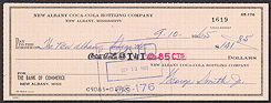 #CC174 - 1960s Coca Cola Check from the Plant in New Albany, Mississipi