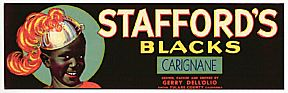 #ZLSG015 - Stafford's Blacks Grape Crate Label with Black Boy