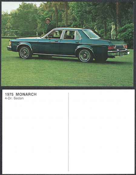 #CA519 - Group of 4 1975 Mercury Monarch Dealer Postcards