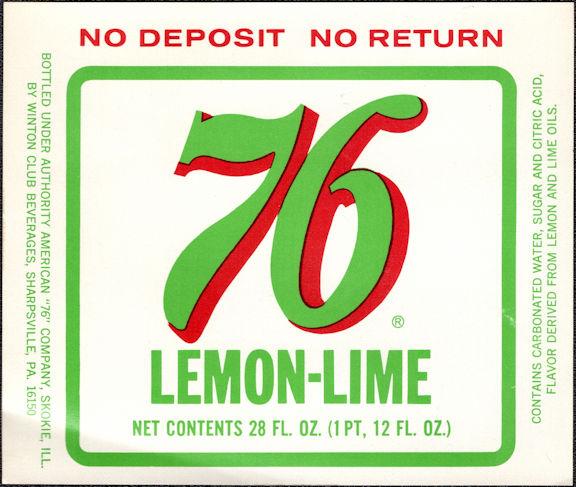 #ZLS239 - 76 Lemon-Lime Soda Bottle Label
