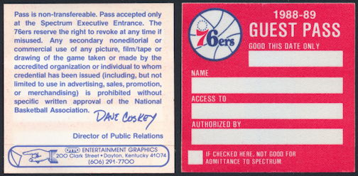 #BA724 - 1988/89 OTTO Cloth Backstage Guest Pass for a Philadelphia 76ers Game