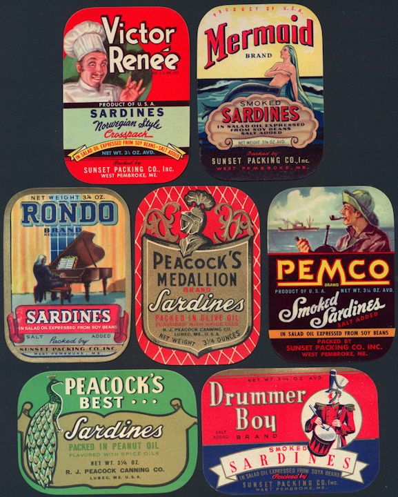 #ZLCA282 - Group of 7 of our Best Sardine Can Labels