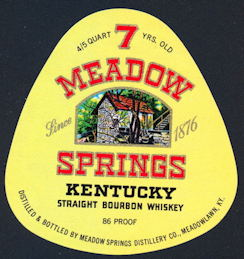 #ZLW138 - 7 Meadow Springs Kentucky Straight Bourbon Whiskey Label