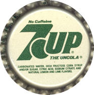 #BC052 - Group of 10 Silver and Green 7Up The Uncola Caps