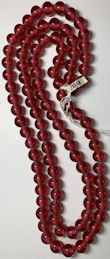 #BEADS0909 - Double Strand of 90+ Large Cherry Brand Glass 12mm Transparent Light Ruby Beads