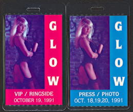 #BA707 - Super Rare Pair of Press and Ringside Backstage Passes for GLOW (Gorgeous Ladies of wresting) 1991 Featuring Hollywood - As low as $8/pair
