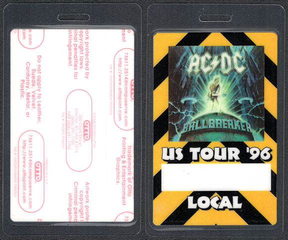 """##MUSICBP0695 - AC/DC OTTO Laminated """"Local"""" Backstage Pass from the 1996 Ballbreaker Tour"""