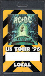 ##MUSICBP0695 - AC/DC OTTO Laminated Backstage Pass from the 1996 Ballbreaker Tour