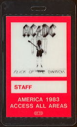 ##MUSICBP0474  - 1983 AC/DC Laminated OTTO Backstage Access All Areas Pass from the Flick of the Switch Tour