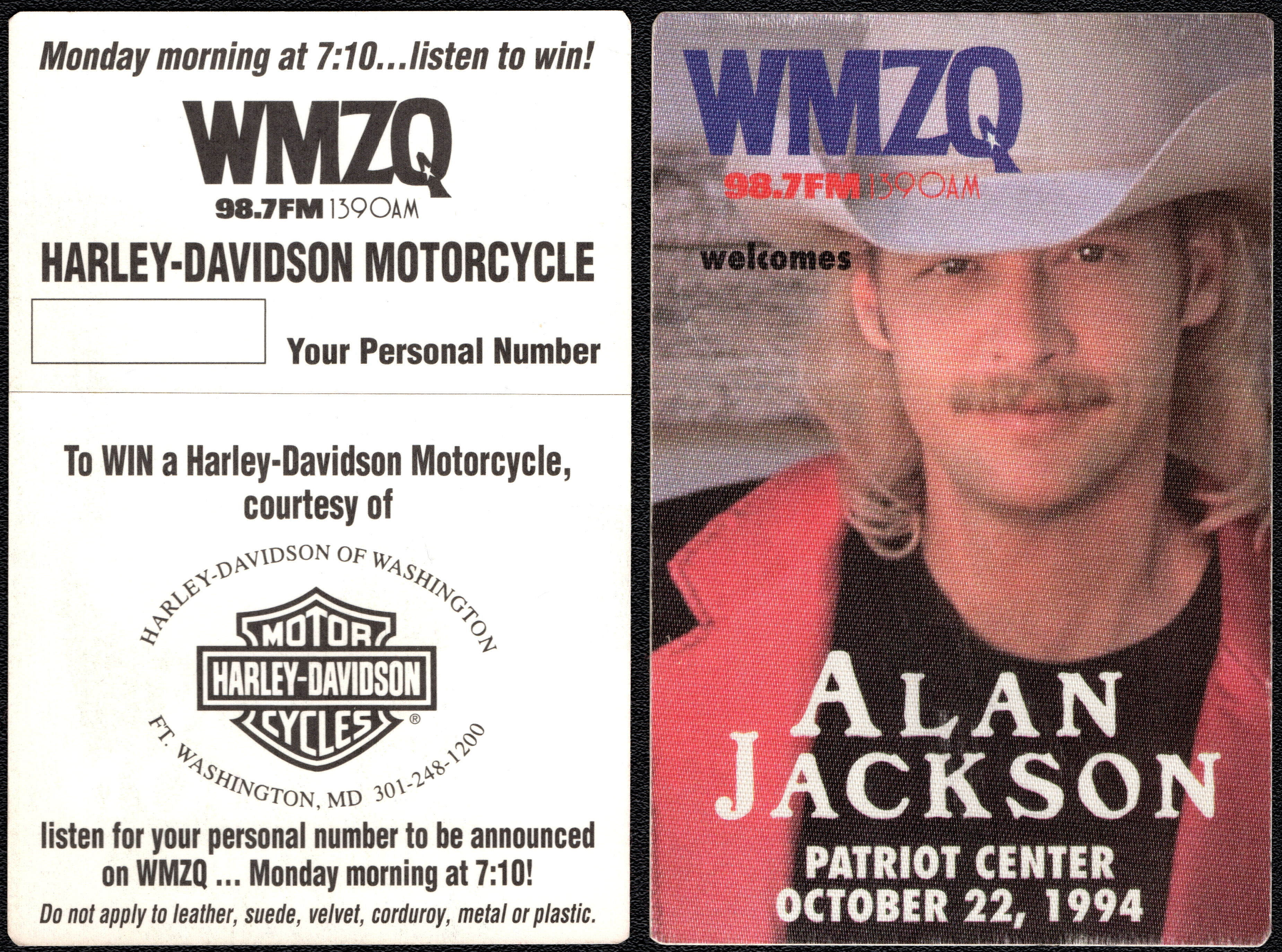 ##MUSICBP0522 - Alan Jackson OTTO Backstage Pass from the concert at the Patriot Center