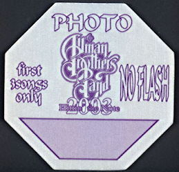 ##MUSICBP0282  - Allman Brothers Band Cloth OTTO Backstage Pass from the 2003 Hittin' the Note Tour - As low as $1.50 each