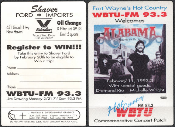 ##MUSICBP0730 - Alabama OTTO Cloth Commemorative Patch from the 1993 Concert in Ft. Wayne - WBTU-FM 93.3