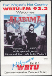 ##MUSICBP0730 - Alabama OTTO Cloth Commemorative Radio Patch from the 1993 Concert in Ft. Wayne - WBTU-FM 93.3