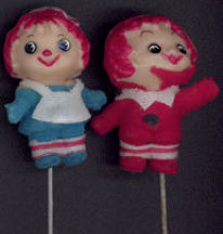 #CH259 - Raggedy Ann and Andy Dolls (pair) on a Metal Stem - Japan