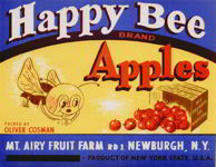 #ZLC189 - Happy Bee Apple Crate Label