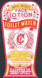 #ZBOT210 - Scarce Royal Bouquet Face Lotion Toilet Water Bottle Label