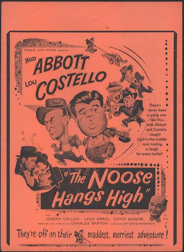 #CH326-28 - Rare Abbott & Costello The Noose Hangs High Poster/Broadside