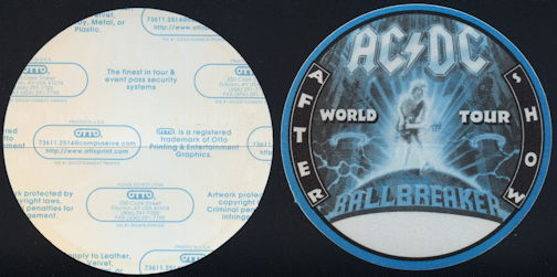 ##MUSICBP0264 - AC/DC OTTO Cloth Backstage Pass from the 1996 Ballbreaker World Tour - As low as $3 each