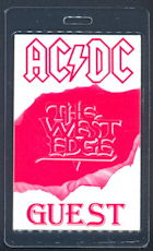 ##MUSICBP0140 - Super Rare Glow in the Dark Laminated AC/DC OTTO Backstage Pass from the Razor's Edge Tour - As low as $10 each
