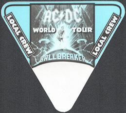 ##MUSICBP0928 - AC/DC OTTO Cloth After Show Backstage Pass from the 1996 Ballbreaker World Tour - Blue Triangle