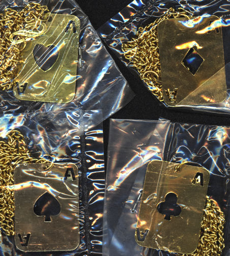 #BEADS0373 - Group of Four Gold Colored Tin Playing Card Shaped Necklaces - Aces of Spades, Clubs, Hearts, Diamonds