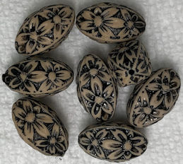 #BEADS0167 - Acrylic 18mm Tan and Black Flower Power Bead