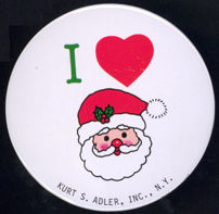 #HH156 - Very Large Kurt Adler I Love Santa Pinback - As low as 25¢ each