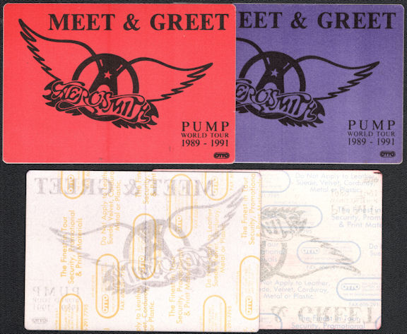 ##MUSICBP0305  - Pair of Two Different Colored Aerosmith Meet & Greet OTTO Cloth Backstage Pass from the 1989-91 Pump World Tour