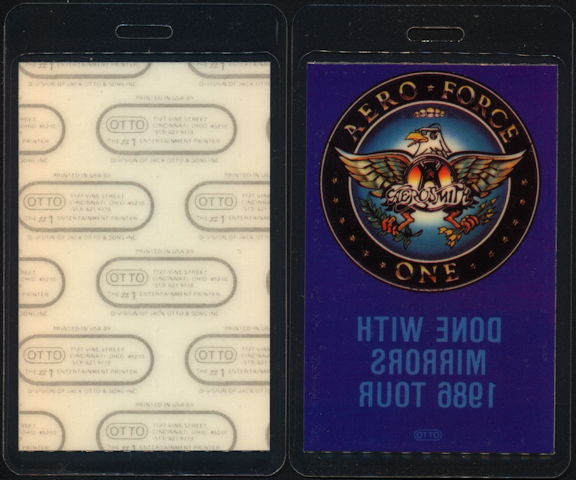 ##MUSICBP0435  - 1986 Aerosmith Aero Force One Laminated Backstage Pass from the Done with Mirrors Tour