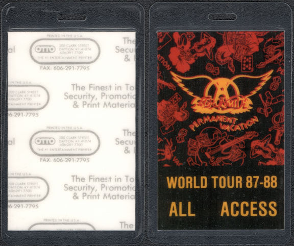 ##MUSICBP0599  - 1987-88 Aerosmith Laminated All Access OTTO Backstage Pass from the Permanent Vacation Tour