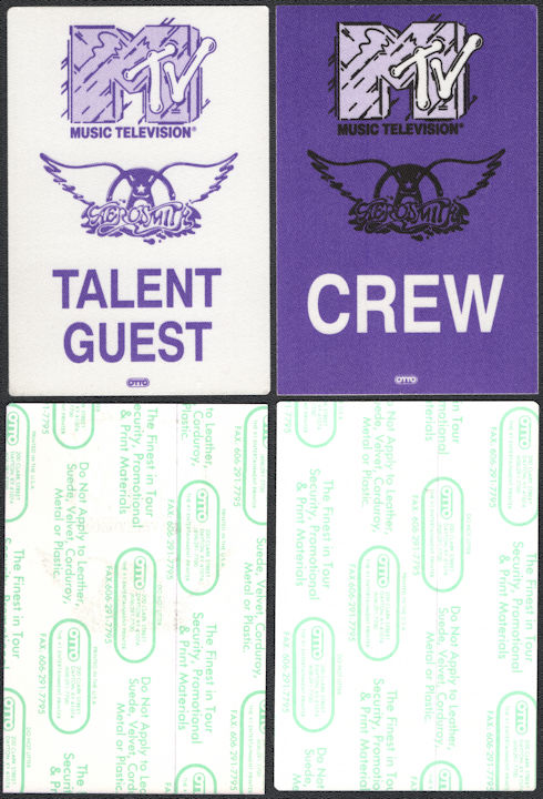##MUSICBP0672 - Pair of Aerosmith OTTO Cloth Talent/Guest and Crew Backstage Passes from the 1990 MTV Unplugged Concert