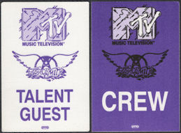 ##MUSICBP0672 - Pair of Aerosmith OTTO Cloth Backstage Passes from the 1990 MTV Unplugged Concert