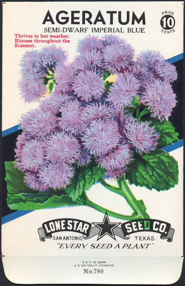 #CE001.1 - Group of 12 Colorful Semi-Dwarf Imperial Blue Ageratum Lone Star 10¢ Seed Packs