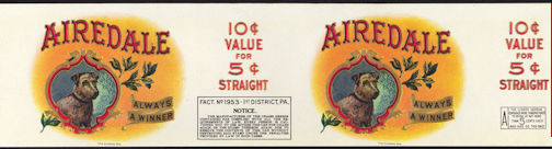 #ZLCA910 - Large Double Image Airedale Cigar Can Label