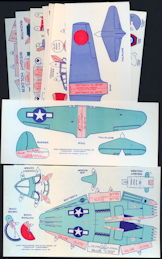 #TY739 - Eight Different Cutout Jack Armstrong Tru-Flite Airplanes - 1960s Version