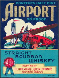 #ZLW121 - Airport Whiskey Label - Half Pint Size