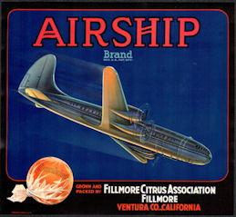 #ZLC449 - Airship Brand Sunkist Orange Crate Label - WWII Bomber
