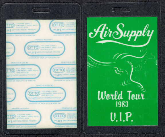 "##MUSICBP0539 - 1983 Air Supply OTTO VIP Backstage Pass from the ""Now and Forever"" World Tour"