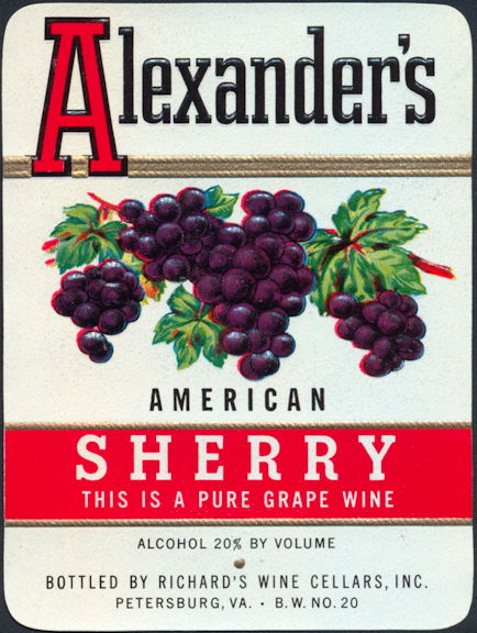 #ZLW045 - Alexander's American Sherry Wine Label