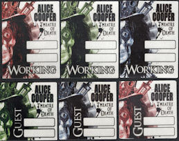 ##MUSICBP0017 - Group of 6 Different OTTO Cloth Alice Cooper Backstage Passes from the Theatre of Death Tour