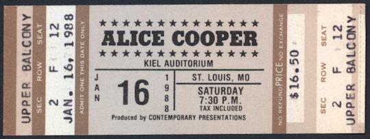 ##MUSICBP0225 - 1988 Alice Cooper Ticket from St. Louis Concert