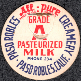 #DC214 - Scarce All-Pure Pasteurized Grade A Paso Robles Milk Bottle Cap