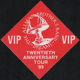 ##MUSICBP0709 - Allman Brothers OTTO Cloth Backstage Pass from the 1989 Twentieth Anniversary Tour - Dreams