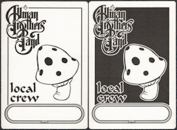 ##MUSICBP0861 - Group of 2 Different Cloth Local Crew Allman Brothers Band Backstage Passes from the 1998 Tour