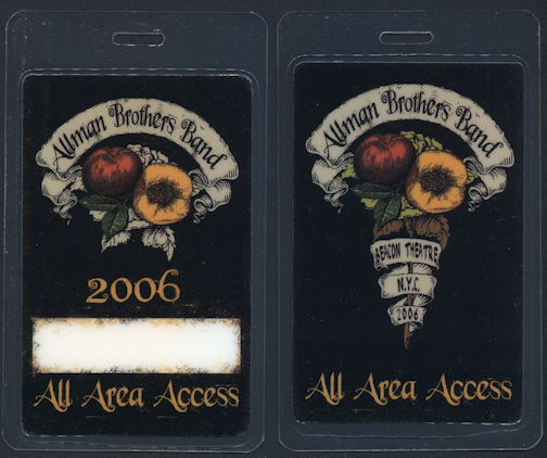 ##MUSICBP0302  - Allman Brothers Band Laminated All Area Access OTTO Backstage Pass from the 2006 Beacon Theatre Run Tour
