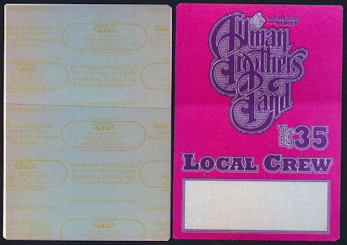 ##MUSICBP0366 - Allman Brothers Band Local Crew OTTO Cloth Backstage Pass from The Big 35