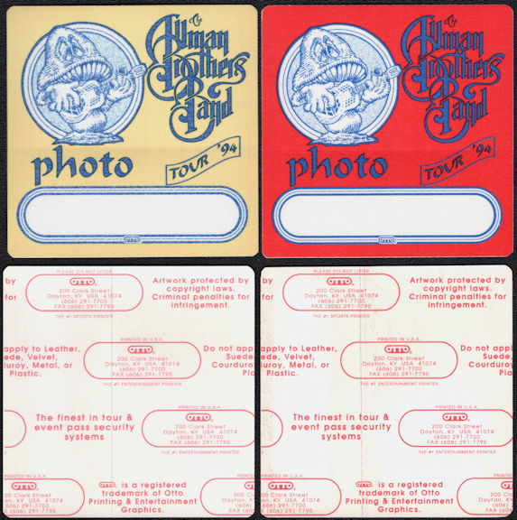 ##MUSICBP0676 - Pair of The Allman Brothers Band OTTO Cloth Backstage Photo Passes from the 1994 Where It All Begins Tour